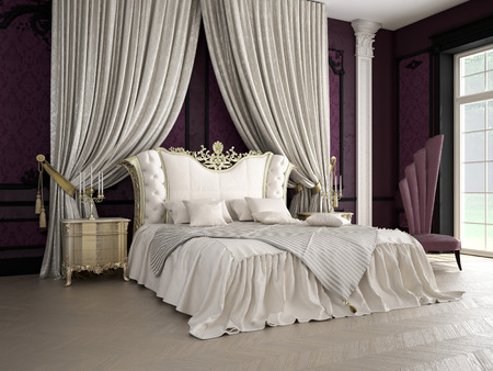 Interior of a classic style bedroom in luxury villa Stock Photo