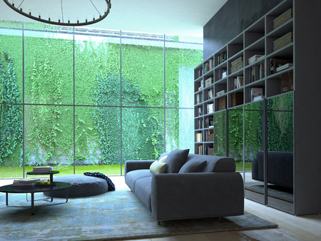 緑の植物の壁とロフト アパート インテリアの 3 D レンダリング