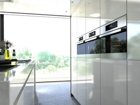 kitchen oven modern steel built in to a unit 版權商用圖片 - 34048175