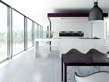 清潔でモダンなキッチン インテリア。デザイン コンセプト