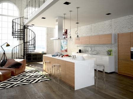 Loft moderne avec une cuisine et un salon. Rendu 3d