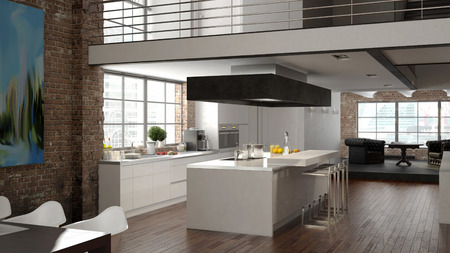 architectural lighting design: Modern loft with a kitchen and living room. 3d rendering Stock Photo