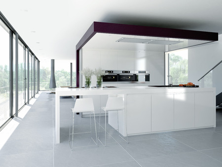 깨끗하고 현대적인 주방 인테리어입니다. 디자인 컨셉