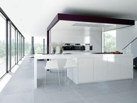 cuisine fond blanc: un int�rieur moderne de cuisine propre. concept Banque d'images