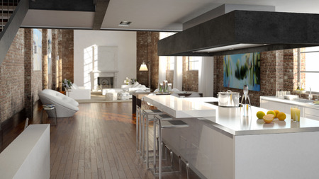 modern living room: Modern loft with a kitchen and living room. 3d rendering Stock Photo