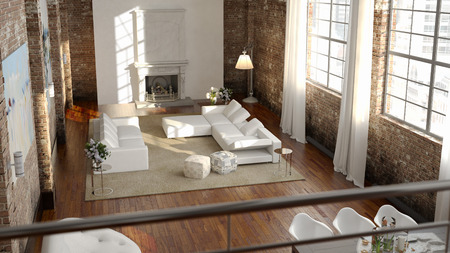 Grote en comfortabele woonkamer met lichte bank. 3D-rendering Stockfoto