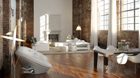 lofts: Big and comfortable living room with bright sofa. 3d rendering Stock Photo