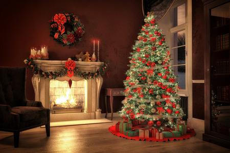 christmas design: Christmas scene met boom geschenken en vuur in de achtergrond. 3D-rendering