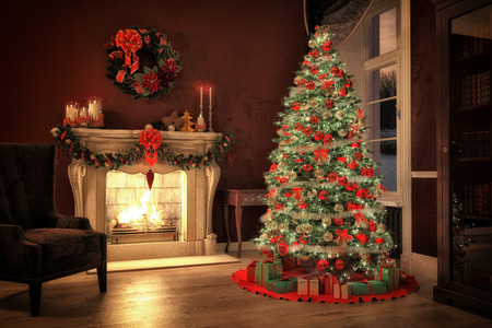 christmas tree ball: Christmas scene with tree  gifts and fire in background. 3D rendering Stock Photo