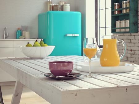 desayuno: Cocina en un apartamento de la vendimia con caf� y jugo