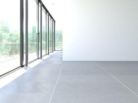 klassieke witte kamer met raam en uitzicht Stockfoto