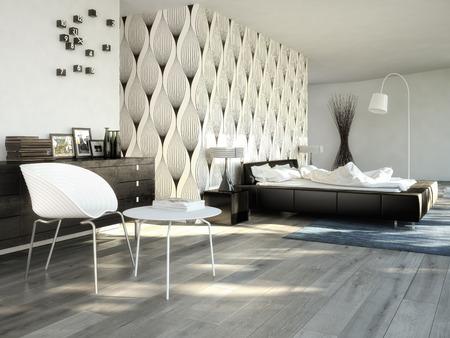 Grote moderne slaapkamer in een chique appartement.