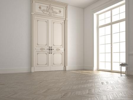 ウィンドウとビューとの古典的な白い部屋