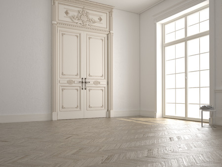 empty space: classic white room with window and a view Stock Photo