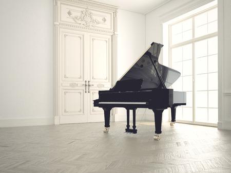 klawiatury: fortepian w pustym klasycznym pokoju.