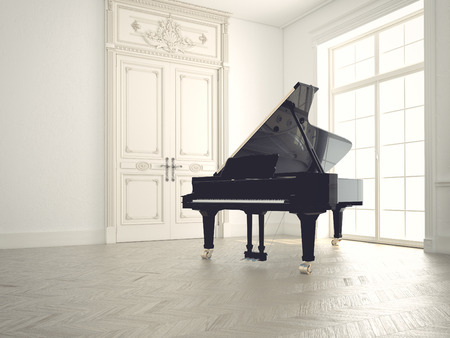 chandeliers: piano in a n empty classic  room.