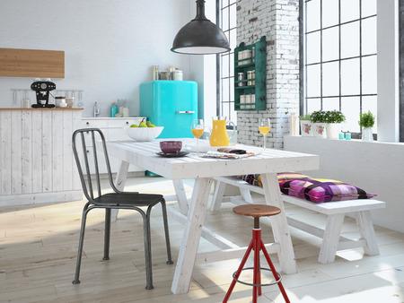 Luxe keuken met roestvrij stalen apparatuur in een appartement