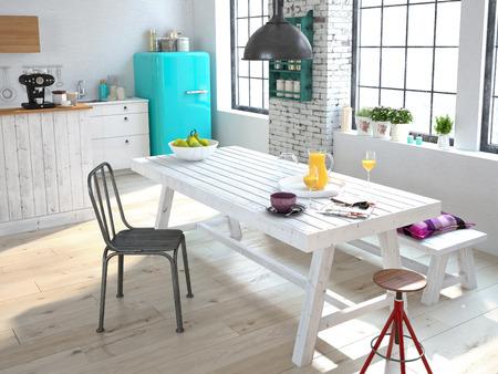 Luxuus キッチンのアパートでステンレス鋼の電気器具 写真素材