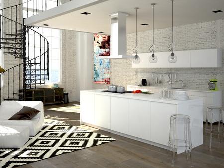 cucina moderna: Loft moderno con una cucina e soggiorno. Rendering 3D Archivio Fotografico