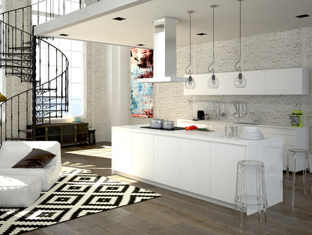 Modern loft with a kitchen and living room. 3d rendering Stok Fotoğraf