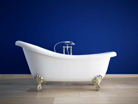 bath: Vintage bath tube in a room with a color wall