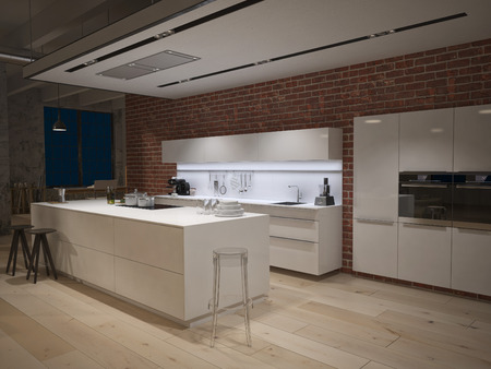Contemporary steel kitchen in converted industrial loft 스톡 콘텐츠