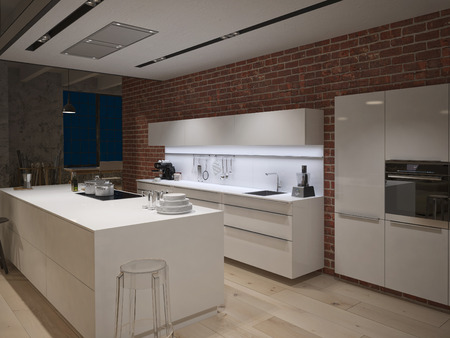 converted: Contemporary steel kitchen in converted industrial loft Stock Photo