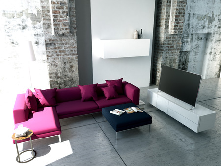 living room sofa: Modern living-room with TV and hifi equipment