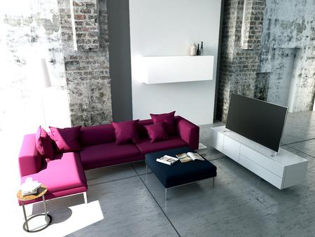 Moderne Wohnzimmer mit TV und HiFi-Anlage Standard-Bild - 34562296