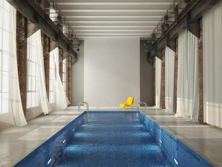 inddor: inddor swiming pool in a modern  loft
