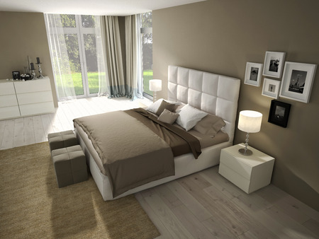 Big modern Bedroom in an chic apartment.