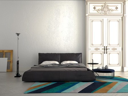 view of a comfortable bedroom: Big modern Bedroom in an chic apartment.