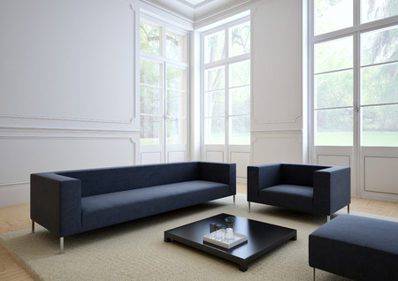 sofa of tissue in a modern living room 스톡 콘텐츠