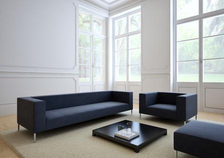 Canapé de tissu dans un salon moderne Banque d'images - 34050651