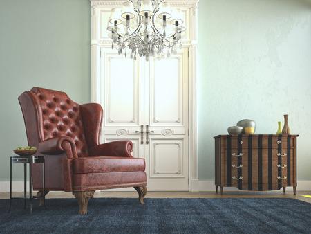 Bella divano vintage accanto al muro. Rendering 3D