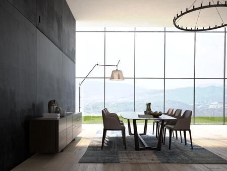 현대적인 디자인의 화이트 식당과 실내 건축 스톡 콘텐츠