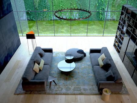 3D-Rendering von Loft-Wohnung Innenraum mit grünen Pflanze Wand
