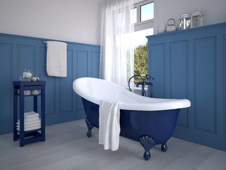 Weinlese-beige Badezimmer mit goldenem Sanitärtechnik Lizenzfreie Bilder