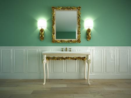 vessel sink: Tuscany wash basin in a classic bathroom Stock Photo