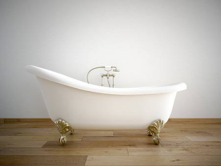 Vintage bath tube in a room with a color wall
