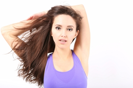 Beauty Girl portrait with long Hair. Beautiful Brunette Woman with Blowing Healthy Hair. Natural Beauty photo