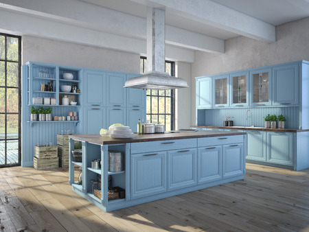 アパートにステンレス製の電化製品と豪華なキッチン