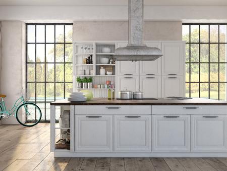 Luxuriöse Küche mit Küchengeräten aus Edelstahl ist in einer Wohnung