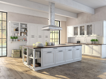 Luxurious kitchen with stainless steel appliances in a apartment