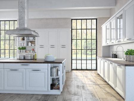 Luxe keuken met roestvrij stalen apparatuur in een appartement Stockfoto - 34219658