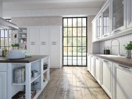 Luxuriöse Küche Mit Küchengeräten Aus Edelstahl Ist In Einer Wohnung ...