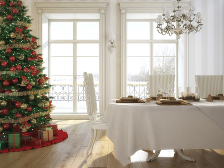 3d rendering. Decorated christmas dining table with wine glasses and christmas tree in background Stock Photo
