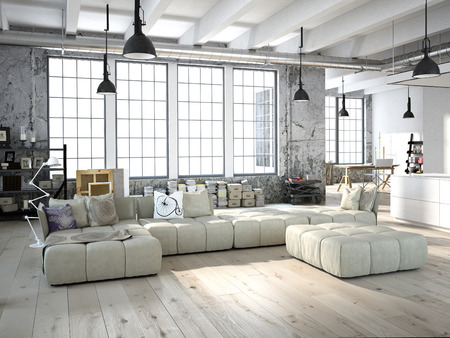 living room design: 3D rendering of living room in a loft
