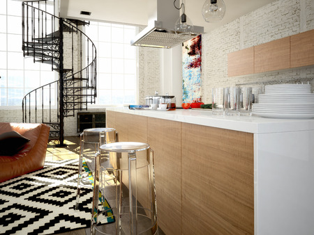 penthouse: Modern loft with a kitchen and living room. 3d rendering Stock Photo