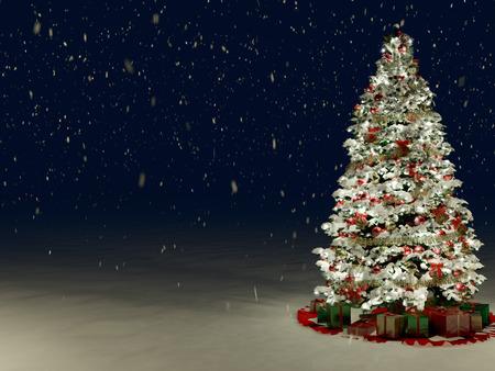 Sneeuw Behandelde Kerstboom met Multi gekleurde lichten 's nachts
